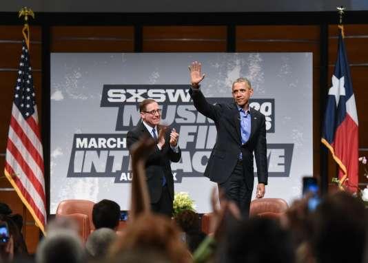Barack Obama était interrogé sur scène par Evan Smith, le rédacteur en chef du Texas Tribune.
