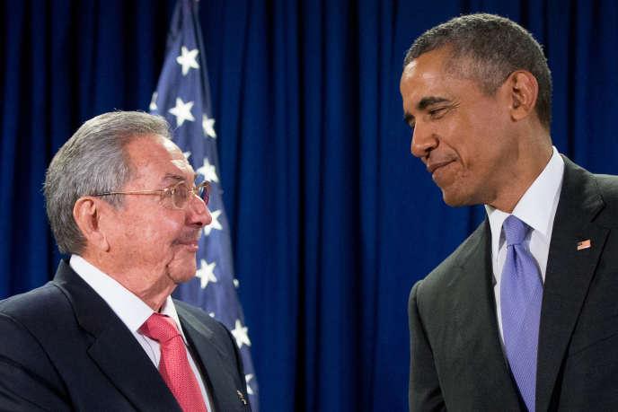Raul Castro et Barack Obama, le 29 septembre 2015 aux Etats-Unis.