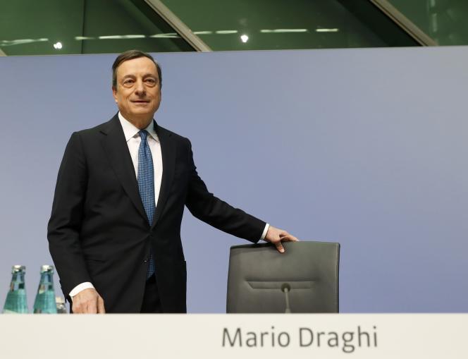 Mario Draghi, président de la BCE, le 10 mars, à Francfort, a appelé, une fois de plus, les gouvernements à «soutenir la croissance par des réformes structurelles susceptibles d'augmenter la productivité».