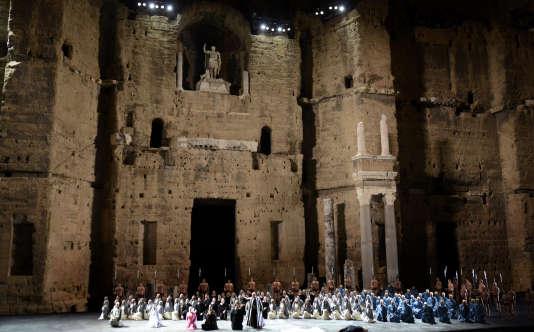 L'opéra «Nabucco» de Verdi en 2014 dans le théâtre antique d'Orange.