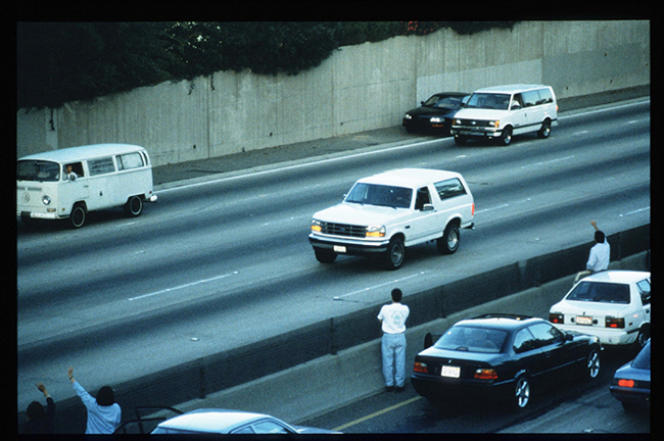 Photo prise lors de la course-poursuite d'O.J. Simpson, à Los Angeles, le 17 juin 1994.