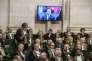 Emmanuel Valls lors du discours inaugural d' Alain Finkielkraut à l'académie française le 28 janvier 2016.