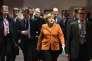 Angela Merkel à Bruxelles lors d'un sommet européen portant sur la crise des migrants, le 7 mars 2016.
