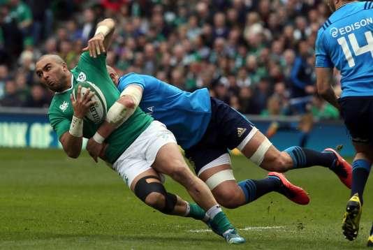 L'Irlandais Simon Zebo contre l'Italie, à Dublin, le 12 mars.