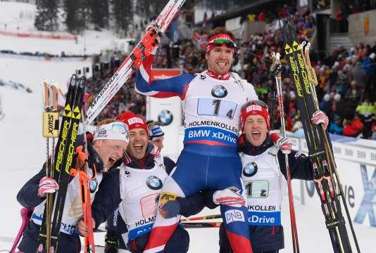 Les Norvégiens Johannes Tingnes Boe, Ole Einar Bjoerndalen, Emil Hegle Svendsen and Tarjei Boe, titrés au relais 4 x 7,5 km, à Oslo, samedi 12 mars.