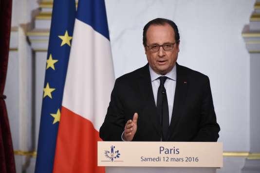 Le président François Hollande à l'Elysée le 12 mars.
