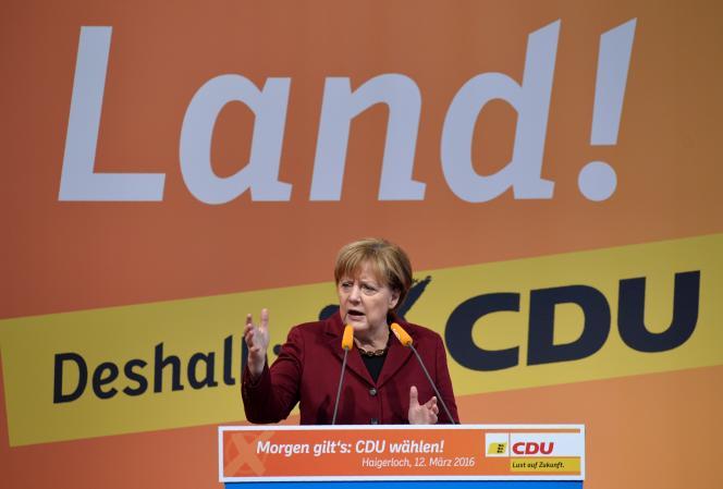 Lors d'un meeting, le 12 mars, dans le Bade-Wurtemberg.