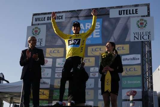 Geraint Thomas, à l'arrivée de l'étape entre Nice et La Madone d'Utelle, le 12 mars 2016.
