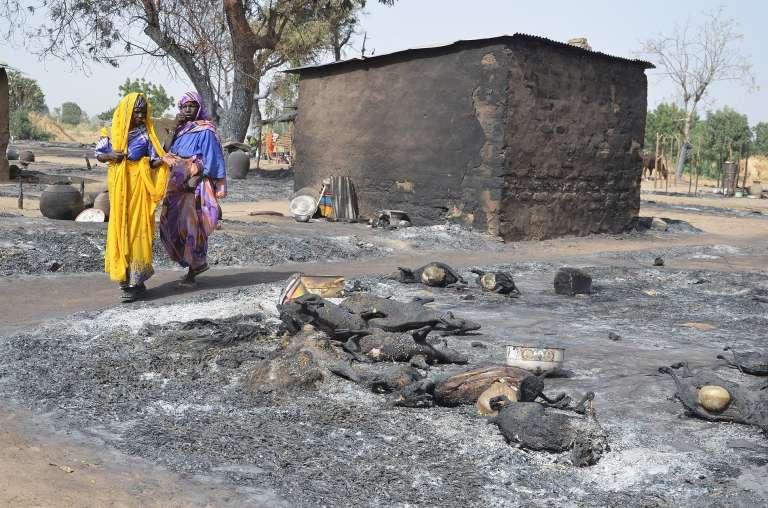 Le 6 février, dans le village de Mairi, près de Maiduguri, dans l'Etat de Borno, dans l'est du Nigeria, après une attaque de Boko Haram.