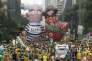 Des ballons géants représentants Luiz Inacio Lula da Silva et Dilma Rousseff  lors d'une manifestation à Sao Paulo le 13 mars 2016.