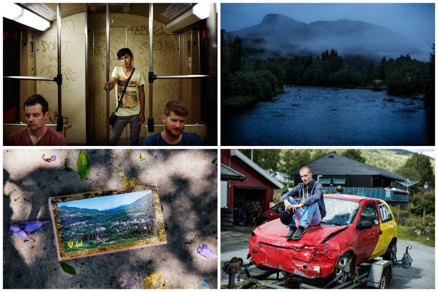 En arrivant en Norvège en 2009, Amin (en haut àgauche) croyait en avoir fini avec l'Afghanistan et la violence des talibans. Il rêvait de devenir mécanicien, de réparer la voiture de son ami Tobias (en bas à droite). Mais en 2014, les autorités norvégiennes, considérant que Kaboul n'est plus un endroit dangereux, l'ont expulsé, lui et sa famille. Après dix mois dans la capitale afghane, Amin a fait appel à un passeur et s'est enfui pour la Grèce. Il se trouve actuellement quelque part  dans le nord de l'Europe. Il garde toujours sur lui une carte postale de Gol, le village norvégien où il habitait (en bas à gauche).