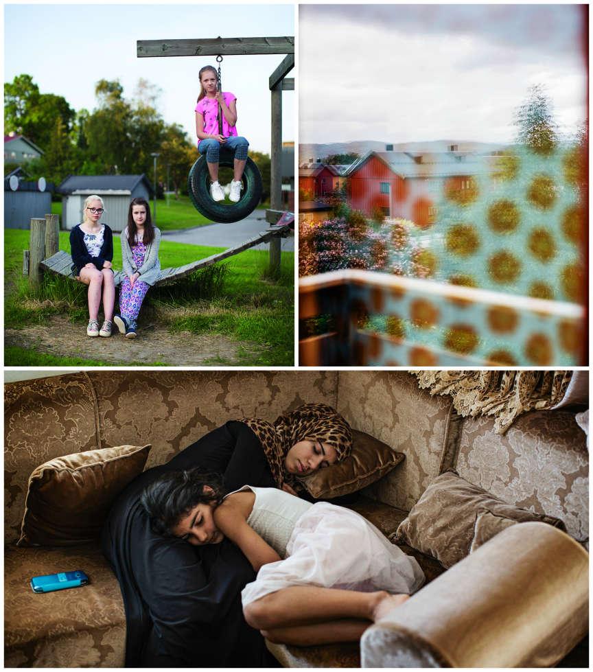 Gofran et Nora (en bas) vivent aujourd'hui avec leur père et leur sœur Sara à Irbid, en Jordanie.  Comme elles parlent et écrivent très mal l'arabe, elles ne peuvent être scolarisées et passent leurs journées  à dormir ou à chatter avec leurs amies norvégiennes (en haut à gauche, Frida, Gyda, et Elise Sofie sur l'aire de jeux où elles avaient l'habitude de se retrouver ; en haut à droite, le paysage vu depuis la maison de  la famille à Namsos). Leur mère et les autres filles ont à nouveau traversé la Méditerranée. Elles vivent à Malmö, en Suède, et espèrent encore obtenir l'asile pour toute la famille en Norvège. Après un refus  de la Cour suprême, elles se sont tournées vers la Cour européenne des droits de l'homme.
