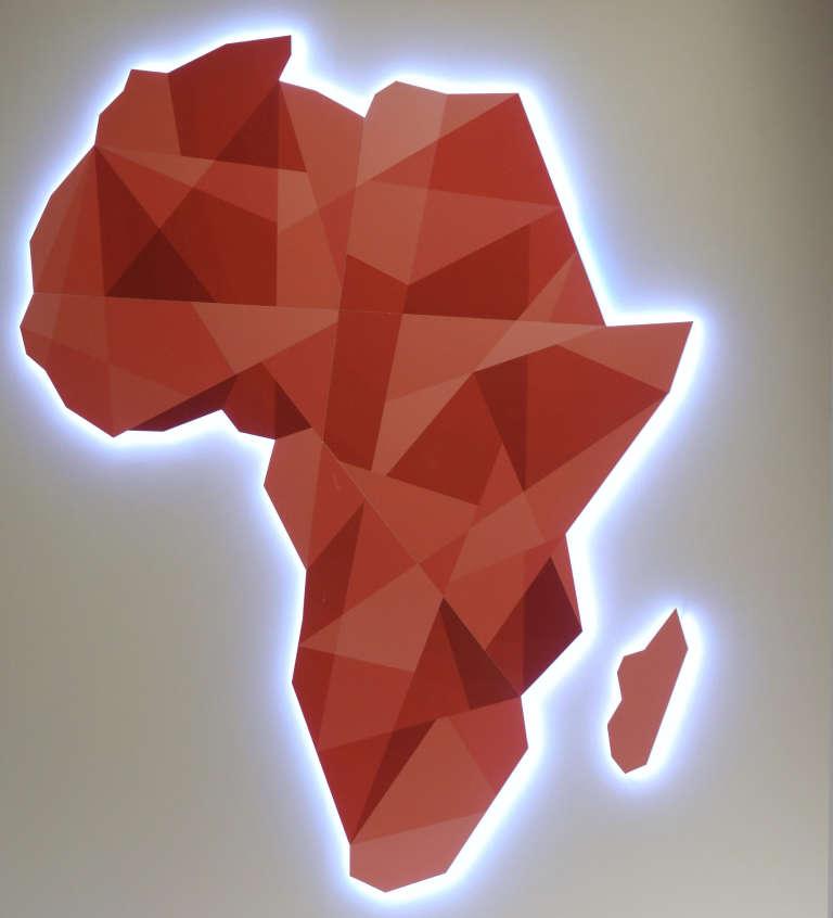 """Une carte de l'Afrique telle qu'affichée au """"Next Einstein Forum"""" (NEF) de Dakar, le 10 mars 2016"""