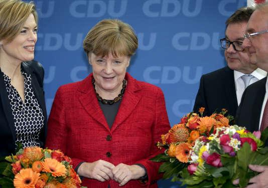 La chancelière Angela Merkel, après les élections régionales dans le Bade-Wurtemberg, le 14mars.