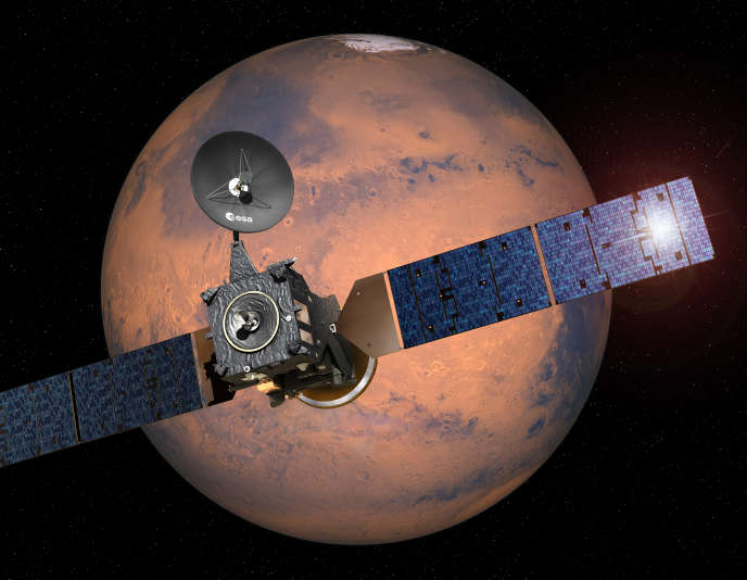 This image provided by the European Space Agency, ESA,  shows an artist·s impression depicting the separation of the ExoMars 2016 entry, descent and landing demonstrator module, named Schiaparelli, from the Trace Gas Orbiter, and heading for Mars. Europe and Russia have launched a joint mission to explore the atmosphere of Mars and hunt for signs of life on the red planet. Monday March 14, 2016  (ESA-D. Ducros/ via AP) MANDATORY CREDIT
