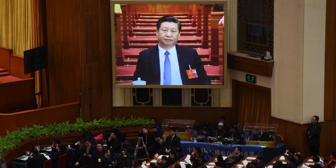 Le président chinois Xi Jinping lors de la seconde session plénière de l'Assemblée nationale populaire le 9 mars.