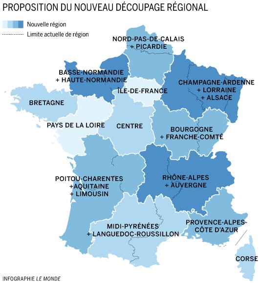 La carte des 13 régions adoptée par l'Assemblée nationale en deuxième lecture le 19 novembre 2015.