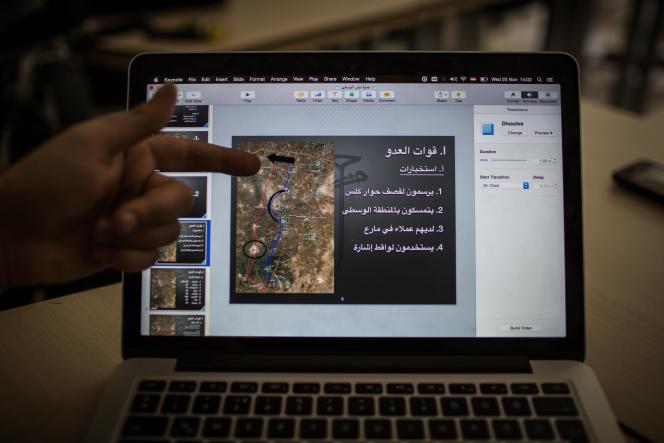 Extrait du plan secret visant à expulser l'organisation Etat iIlamique de la province d'Alep, élaboré à l'été 2014 par la brigade rebelle Hazm en concertation avec les services secrets américains. Le document présenté à l'écran expose le dispositif de défense des