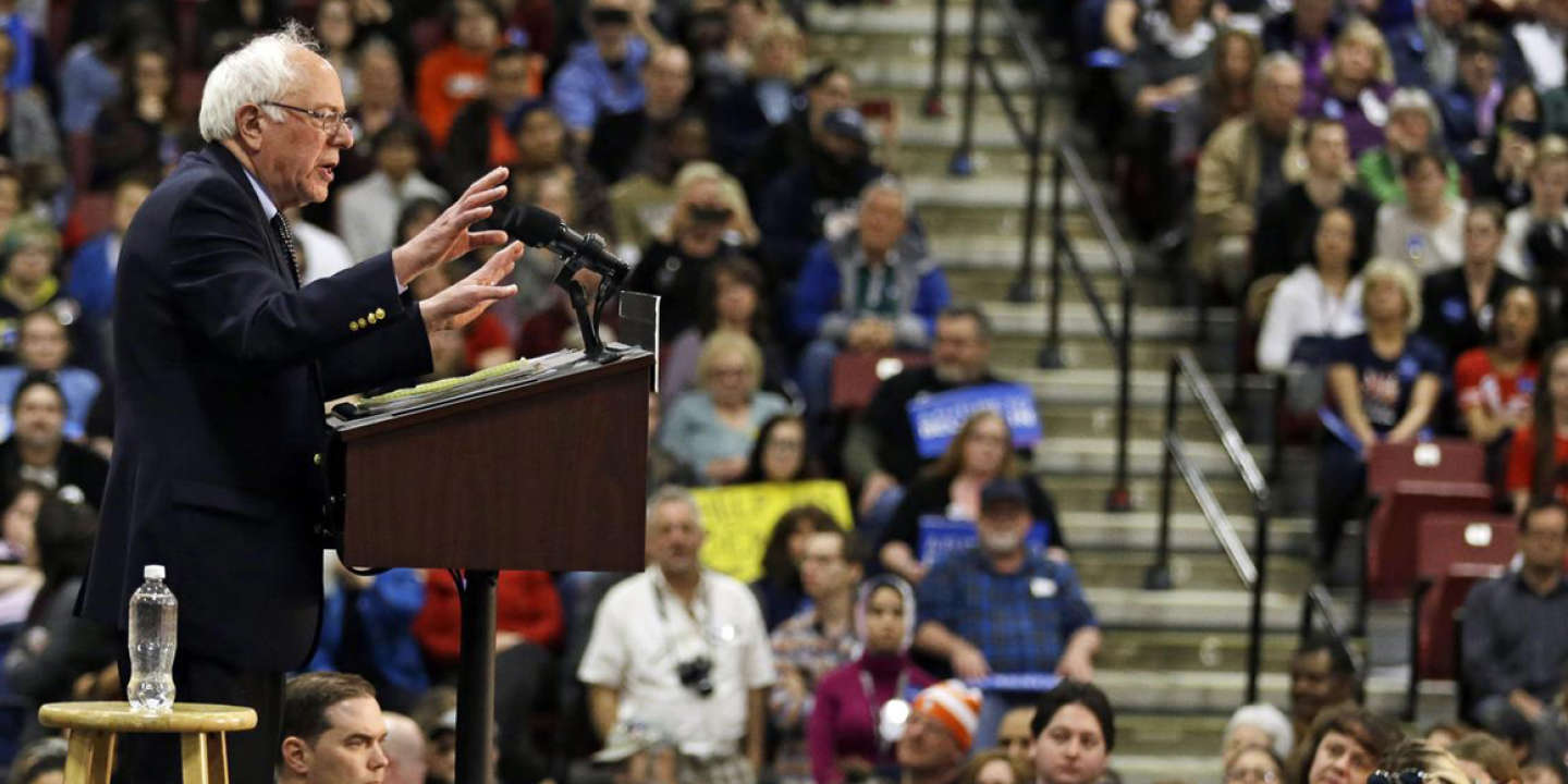 Democratic presidential candidate, Sen. Bernie Sanders, I-Vt., speaks at a campaign rally at the SeaGate Convention Centre, Friday, March 11, 2016, in Toledo, Ohio. (AP Photo/Tony Dejak)