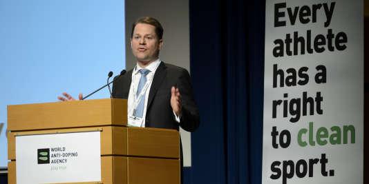 Le Suisse Olivier Niggli, lundi 14 mars à Lausanne, lors du symposium de l'Agence mondiale antidopage.