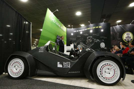 La Strati, prototype du fabricant Local Motors, façonnée en 3D et présentée lors du Salon de Detroit (Michigan) en janvier 2015.