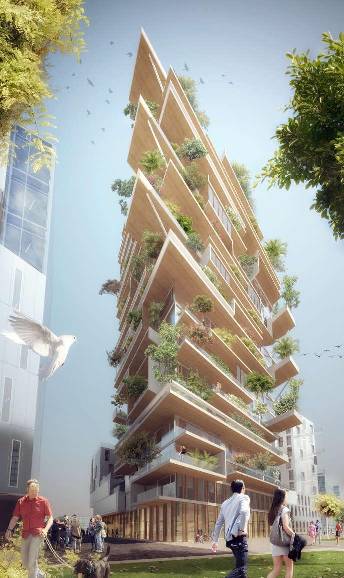 Vue d'artiste de la future tour en bois massif de 18 étages qui sortira de terre début 2020 au centre de Bordeaux.