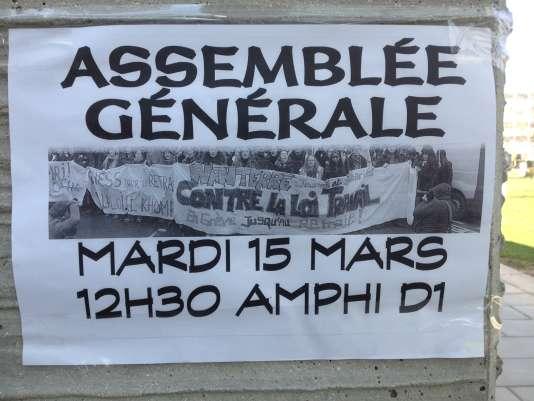 Université de Nanterre, le 15 mars 2016.