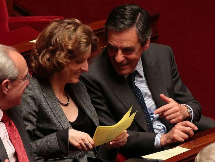 Nathalie Kosciusko-Morizet et Francois Fillon, à l'Assemblée nationale, le 15 mars.