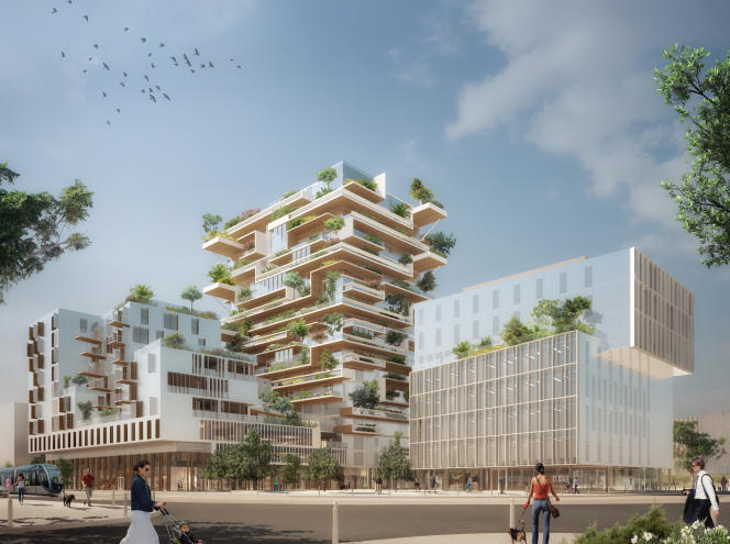 Vue d'artiste de l'environnement dans lequel s'intégrera la tour Hypérion, à Bordeaux.