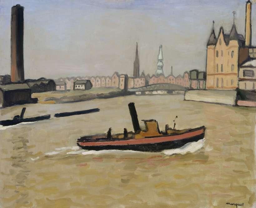 « Albert Marquet aime les ports pour leurs animations et leurs couleurs. Ici, il s'agit de Hambourg sous le soleil. »