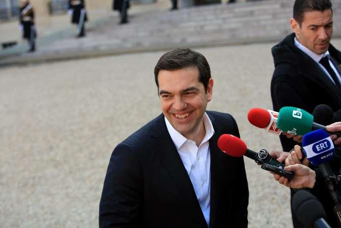 Le premier ministre grec, Alexis Tsipras, au palais de l'Elysée, à Paris, samedi 12 mars 2016.