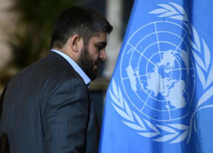 Mohamed Allouche, négociateur en chef de la délégation du Haut Comité des négociations (HCN), à Genève, le 15 mars 2016.