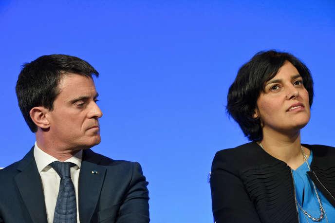 Présentation des grandes lignes du projet de la loi travail à Matignon, le 14 mars 2016. Manuel Valls et Myriam El Khomri ministre du travail.