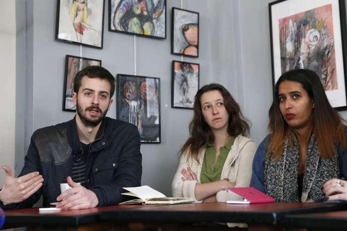 William Martinet, de l'UNEF, Léa Caillere-Falgueyrac, des Jeunes écolos et Samya Mokthar, de l'UNL, lors d'une conférence de presse à Paris, le 15 mars.