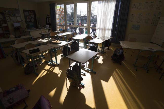Une salle de classe dans une école de Sarcelles, le 11 février 2016.