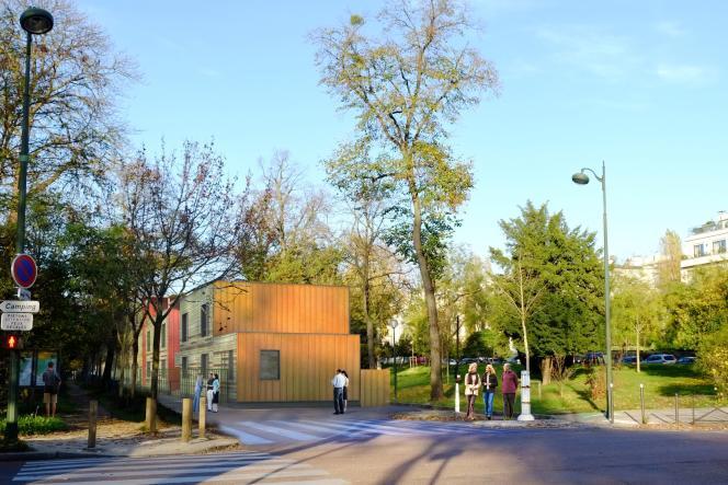 Une image de synthèse diffusée par le cabinet d'architectes Moonarchitectures le 14 mars 2016 et représentant le projet de centre d'accueil près du bois de Boulogne à Paris.