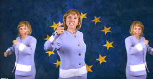 "Angela Merkel, version Juice Rap News, dans ""The Eurodivision contest""."