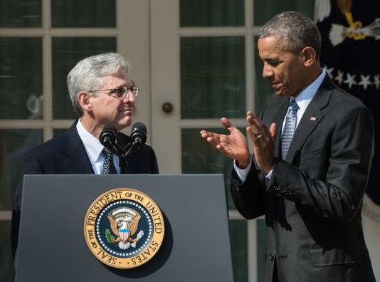 Merrick B. Garland et Barack Obama, à la Maison Blanche, le 16mars.
