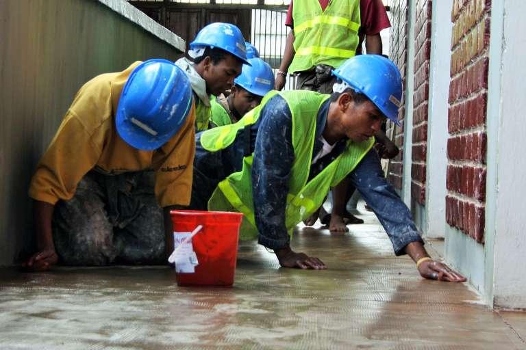 Chantier école dans un bâtiment du ministère de l'emploi, à Antananarivo.