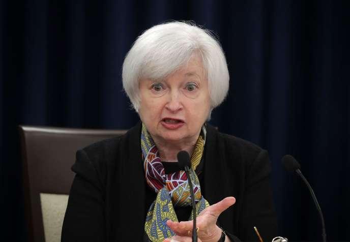 Janet Yellen, la présidente de la Réserve fédérale américaine, le 16 mars, àWashington.