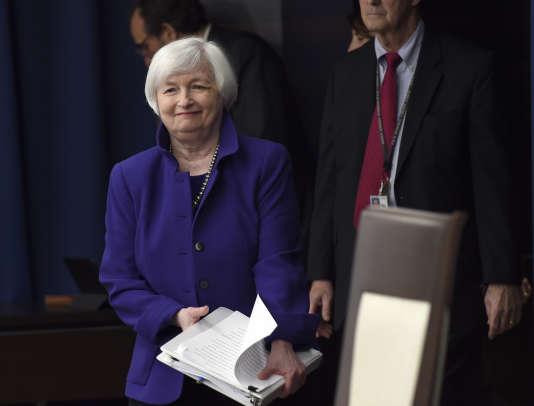Janet Yellen, la présidente de la Réserve fédérale américaine, en décembre2015. La Fed a annoncé, le 16mars, que ses taux directeurs restaient inchangés.