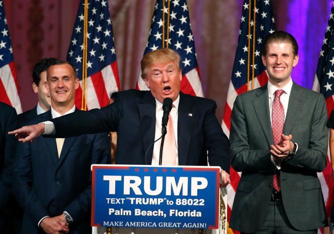 Le candidat républicain Donald Trump s'adresse aux médias, à West Palm Beach, après sa victoire en Floride le 15 mars.