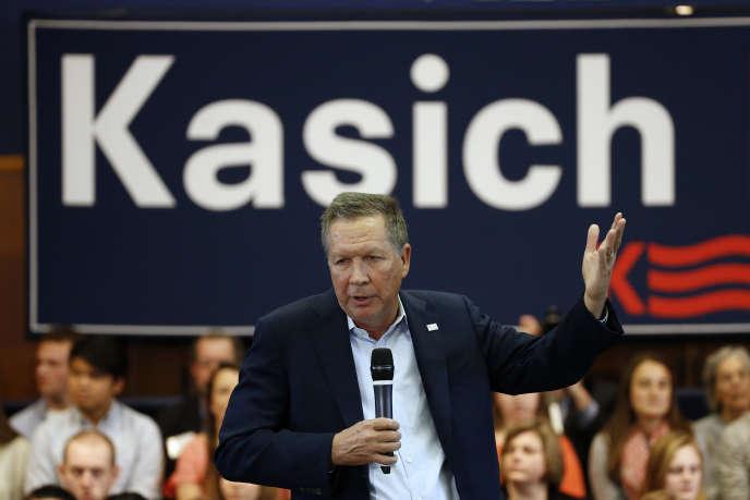 Le candidat républicain et gouverneur de l'Ohio, John Kasich, lors d'un meeting à Villanova, en Pennsylvanie, le 16 mars 2016.
