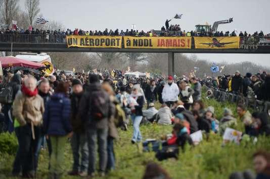 Lors d'une manifestation contre le futur aéroport de Notre-Dame-des-Landes au Temple-de-Bretagne le 27 février 2016.