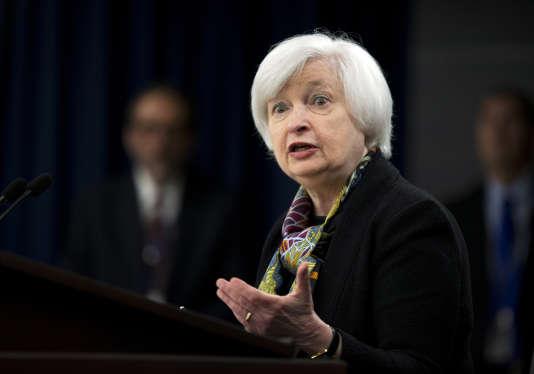"""La présidente de la Fed, Janet Yellen, à Washington, mercredi 16 mars. """"L'institution reste déterminée à poursuivre son resserrement monétaire, même si elle agit avec prudence"""", analyse l'économiste Jean-Louis Mourier."""