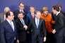 La réunion des chefs d'Etat et de gouvernement avec le premier ministre turc Ahmet Davutoglu (deuxième à gauche), le 7 mars, à Bruxelles.