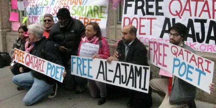 Manifestation de soutien au poète Mohamed Al-Ajami devant l'ambassade du Qatar à Washington, le 19 décembre 2012.