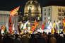 Rassemblement du mouvement Pegida près du vieux marché, lundi 14 mars, à Dresde.