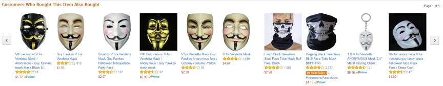 Quelques modèles de masques en vente sur le site d'Amazon aux Etats-Unis.