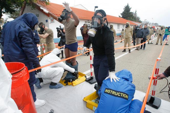 Simulation d'attentat chimique à Nîmes, le 17 mars.